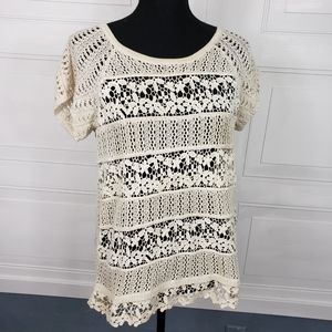 4/$24 Inc Crochet Top Creme Bohemian Open Knit